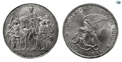 GERMANY, PRUSSIA, SILVER, 3 MARKS, 1913, BERLIN VICTORY,KM 534, UNC