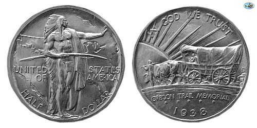 U.S. OREGON TRAIL MEMORIAL, SILVER HALF DOLLAR, 1938, UNC