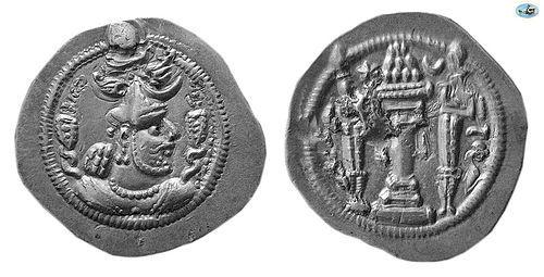 SASANIAN KINGS. PEROZ I, AD. 457/9�484 . SILVER DRACHM, CHOICE EF