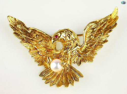 Victorian 18K Gold Eagle Pin with Ruby and Pearl on Claws