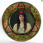 Antique 1907 Decorative Vienna Art Plate of �Lady Irene� Gipsy