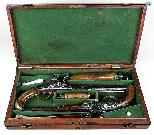 Wonderful Cased Pair of German KUCHENREUTER Flintlock Holster Pistols