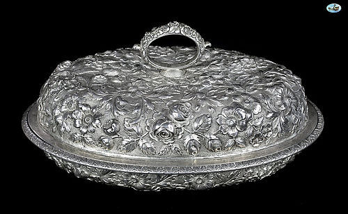 Jenkins & Jenkins Makers 925/1000 Silver Repoussé Bowl w/Cover
