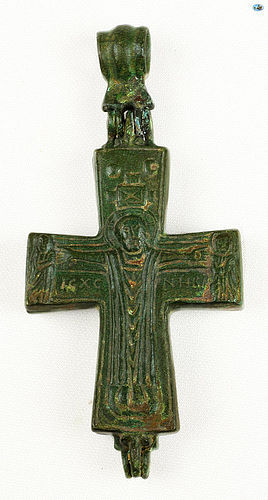 12-14th Cent. Byzantine Christ �Orans� Bronze Reliquary Cross Pendant