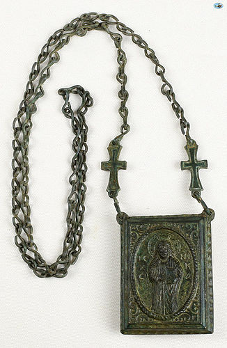 12th Cent. Byzantine Bronze �Pantokrator�, �Theotokos� Gasbal Necklace