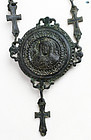 12th Cent. Byzantine Bronze Christ Gasbal Necklace Greek Inscription