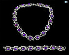 Set of Sterling Silver, Amethyst Necklace & Bracelet, Taxco Mexico