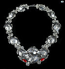 Vintage 950 Silver Plateria Daniela Mexico Necklace w/ Red Jewel