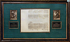 Fabulous Framed Thomas Jefferson & James Madison Signed Documents
