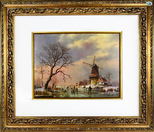 Marvelous Dutch Wouter Janssen �A Cold Winter Day� Oil Painting