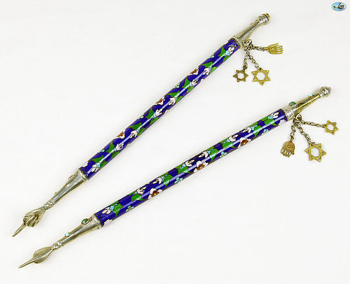Fine Antique Pair of Silver & Enamel Torah Pointers Yad Eastern Europe