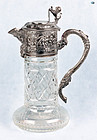 Antique Victorian German Silver & Crystal Angel Lion Wine Decanter