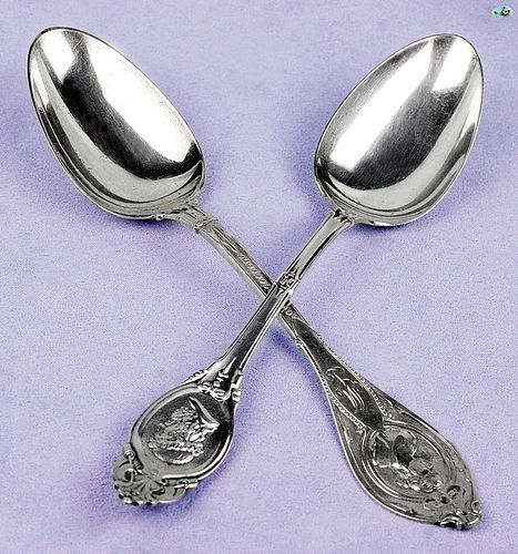 Antique American 1920s Sterling Silver Set of Two Spoons