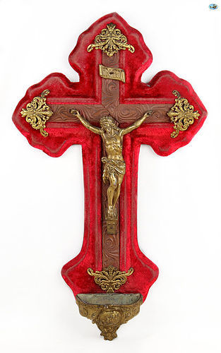 19th Cent. French Antique Golden Shabby Cross of Jesus Christ INRI