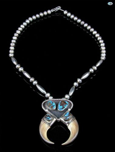 Native American Indian Sterling Silver & Bear Claw Turquoise Necklace