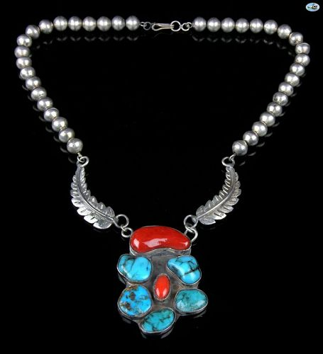 Vintage Native American Indian Silver Turquoise Coral Necklace