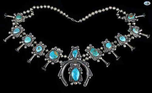 Vintage Native Indian Sterling Silver Turquoise & Beads Necklace