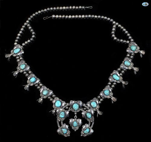Vintage Native Indian Sterling Silver Multiple Turquoise Necklace