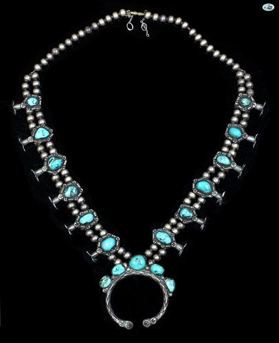 Native American Indian Turquoise & Sterling Silver Necklace