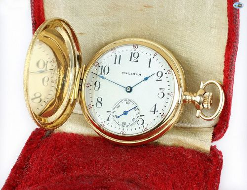 Antique 1800s Waltham Keystone 14K Gold Pocket Watch w/Box