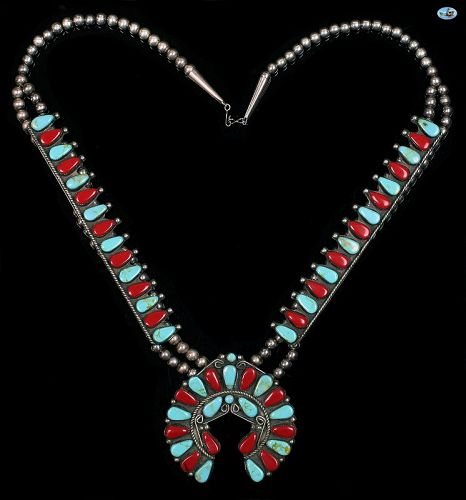 Native American Indian Turquoise & Coral Sterling Silver Necklace
