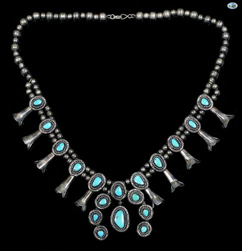Vintage Native American Indian Turquoise Sterling Silver Necklace