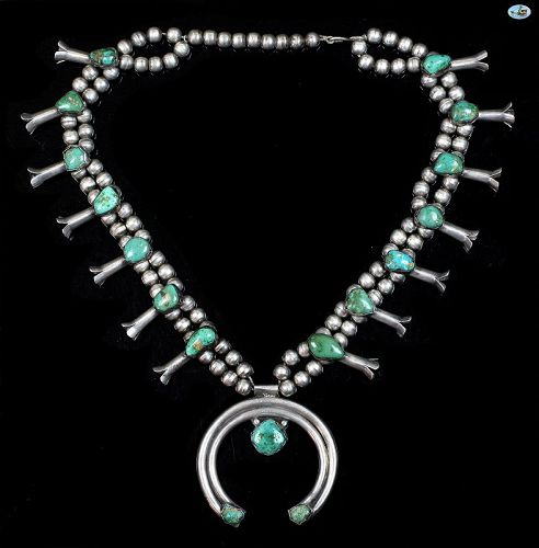Native American Indian Light Green Turquoise Sterling Silver Necklace
