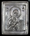 Magnificent Antique 1900 Russian Icon of Mary, Silver Repoussé Marked