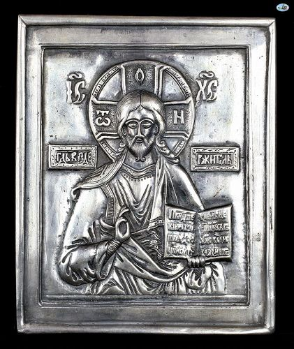 Antique HM 1852 Russian Religious Icon of Jesus Silver Marked 84