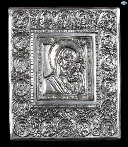 HM 1867 Russian Religious Icon of Mary & Baby Jesus Silver Marked 84