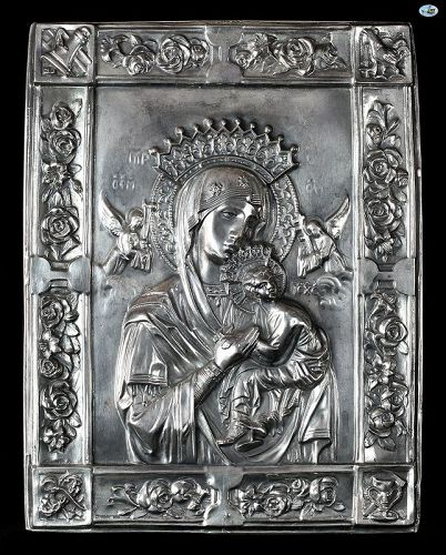 Antique 1900 Silver Christian Religious Icon of Mary & Baby Jesus
