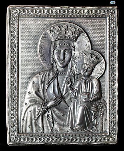 1900 Russian Religious Icon of Mary & Baby Jesus HM 84 Silver Repousse