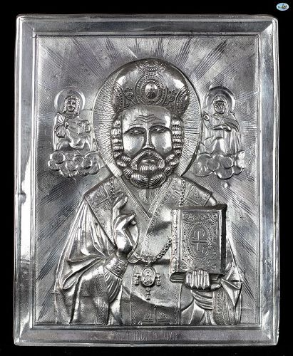 1886 Russian Silver Icon of Saint Nicholas, Jesus & Mary HM 84