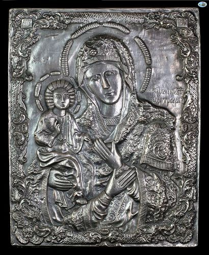 1849 Russian HM A.K 84 Silver Repoussé Icon of Mary & Baby Jesus