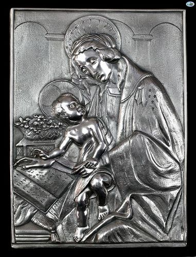 Henryk Winograd Russian 925 Silver Repoussé Icon of Mary & Baby Jesus