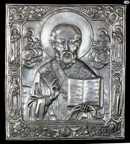 1889 Russian Silver Icon of Saint Nicholas, Mary & Jesus HM 84