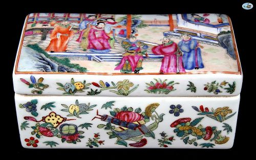 1800s Asian Chinese Large Porcelain Box of King & Queen Royalty Scene