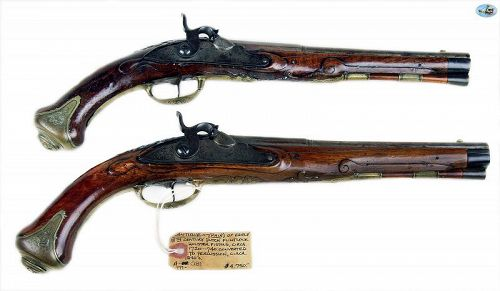 Pair of 18th C. Flintlock Holster Pistols Converted to Percussion