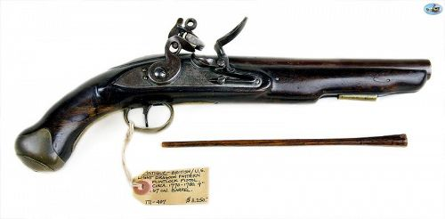 Antique 1700s British/American Light Dragoon Flintlock Pistol