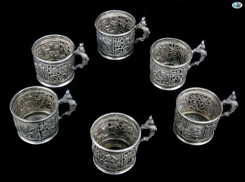 Persian Qajar Persepolis 1800 Shiraz Six Piece Silver Tea Glass Set