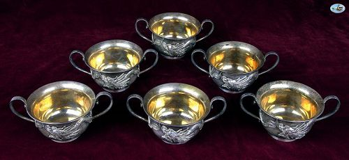 WAI KEE 90 Asian Hong Kong Set of 6 Silver & Gilt Dragon Tea Cups