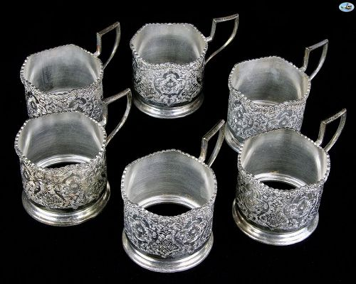Antique 1940s Persian Isfahan Six Piece Silver (84) Large Tea Set