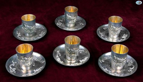 WAI KEE Asian Hong Kong Set of 6 Silver Gilt Dragon Liquor Cup Saucer