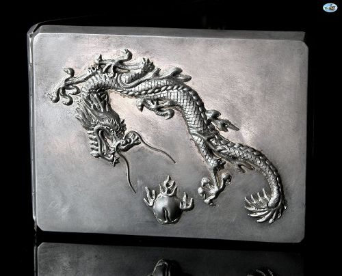 Antique 19th Century Chinese Asian Silver & Gilt Dragon Cigarette Case