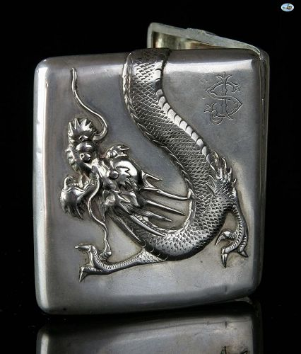 1900 Chinese Asian Silver Dragon Cigarette Case Hallmark �S�