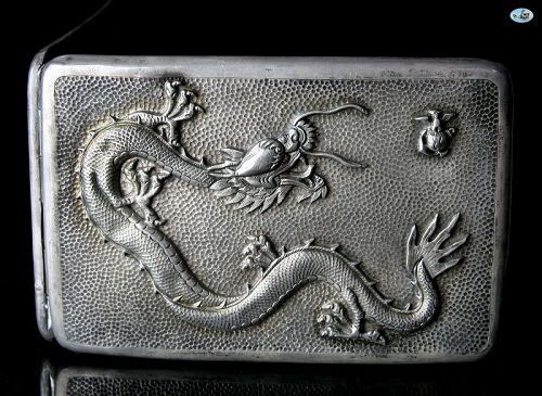 Chinese Export Sterling Silver Dragon Marine Peiping Cigarette Case