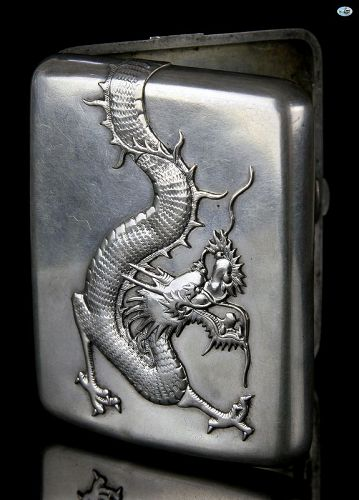 Chinese Wing Nam & Co. Hong Kong Sterling Silver Dragon Cigarette Box