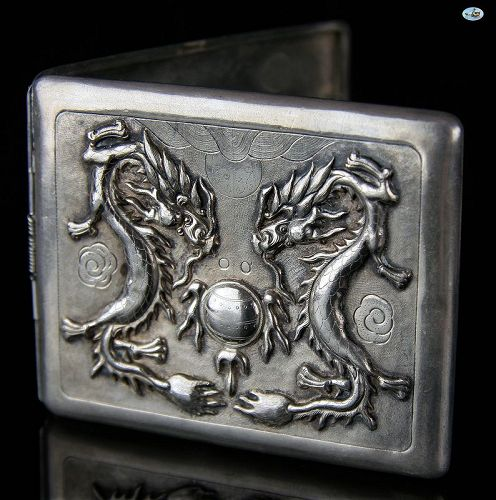 1900 Chinese Sterling Silver Raised Dueling Dragon Cigarette Case