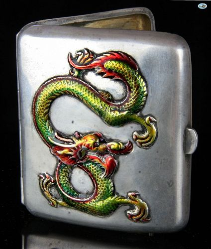 1900 Chinese Sterling Silver Colorful Raised Dragon Cigarette Case