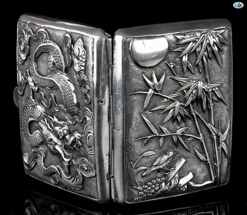 1900s Chinese Export Guang Li Sterling Silver Cigarette Case